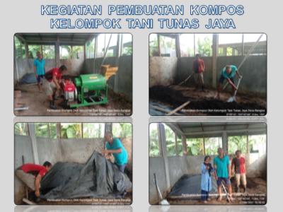 Kegiatan Pembuatan Pupuk Kompos Kelompok Tani Tunas Jaya di Desa Banglas.